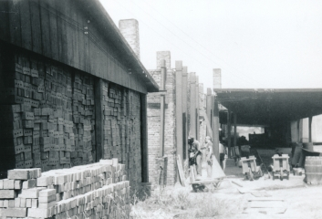 Brick storage and rectangular kilns, Alton Brick Co., Maryland Heights, Missouri.