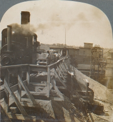 Engine Bringing Cars of Clay from the Mine, Laclede-Christy, St. Louis, Missouri