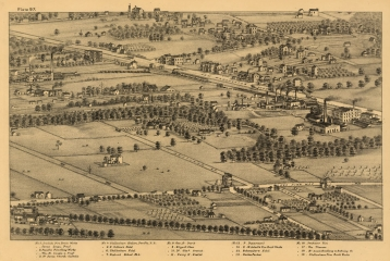 Bird's eye view of Cheltenham from Pictorial St. Louis - 1875