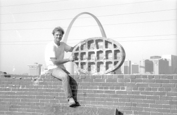 Larry Giles atop the Big Four Building across the Mississippi River from the Gateway Arch