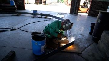 Matt McClelland welding octagonal framework