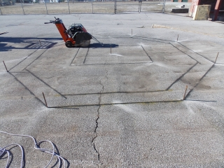 Layout and saw cutting for foundations
