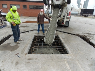 Placing concrete for foundations