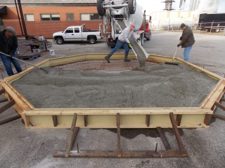 Placing concrete for base
