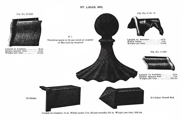 This illustration shows three Mound City Roofing Tile and the lengths, widths, heights, and weights for each of them. Along with an illustration of one large Finial, with a Ridge Tile and a Ridge Closed End tile below it.