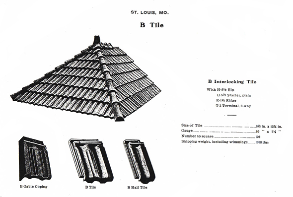 "This illustration shows Mound City Roofing ""B Tile"" or B Interlocking Tile. In the upper left side of the illustration a section of roof shows B Interlocking Tile, below that illustration B Gable Coping, B Tile, and B Half Tile are shown. The right side of the illustration shows the specifications of B Tile such as the Size, Gauge, Number to Square, and Shipping weight, including trimmings."