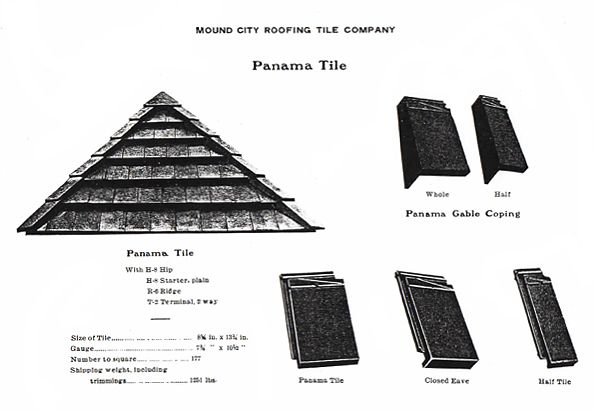 This illustration shows Mound City Roofing Panama Tile. The upper right side of the illustration shows Panama Gable Coping Whole and Half. Below in the lower right is shown the Panama Tile, Closed Eave, and Half Tile. The left side of the illustration shows a section of Panama Tile and the specifications such as the Size of the Tile, Gauge, Number to Square, and Shipping weight, including trimmings.