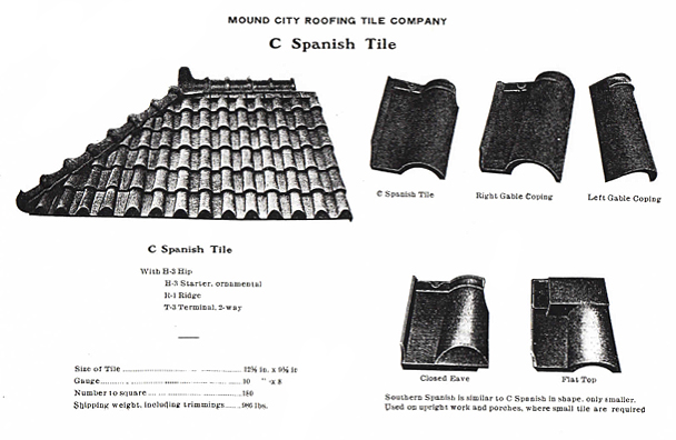 This illustration shows Mound City Roofing C Spanish Tile. The right side of the illustration shows C Spanish Tile, Right Gable Coping, Left Gable Coping, Closed Eave, and Flat Top. The left side of the illustration shows a section of C Spanish Tile and the specifications of the tile, such as Size of Tile, Gauge, Number to Square, and Shipping Weight, including trimmings.