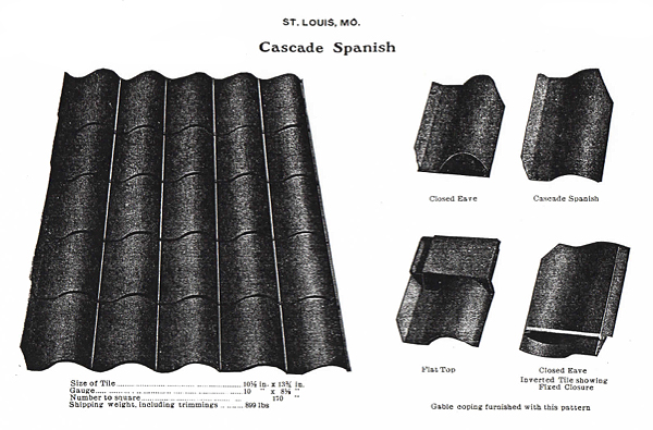 This illustration shows Mound City Roofing Cascade Spanish Tile. The right side of the illustration shows Cascade Spanish Tile, Closed Eave, Flat Top, and Closed Eave (Inverted tile showing fixed closure). The left side of the illustration shows a section of Cascade Spanish Tile and the specifications of the tile, such as Size of Tile, Gauge, Number to Square, and Shipping Weight, including trimmings.
