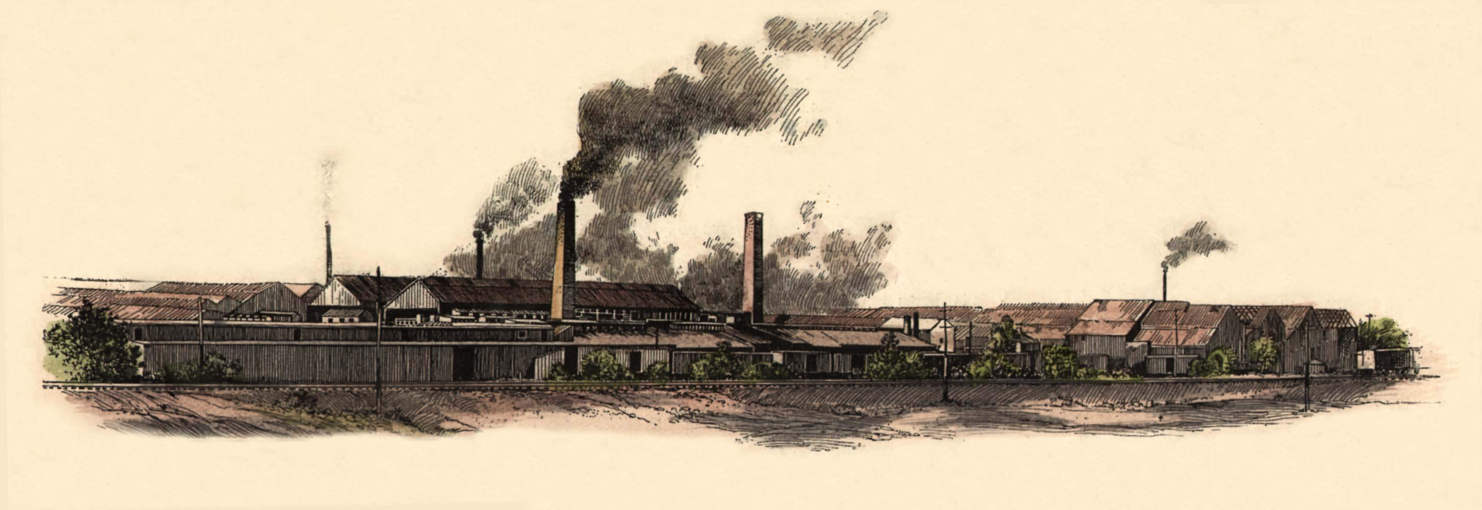 "View of the Hydraulic-Press Brick Company factory, from ""Missouri - The Productions and Buildings of St. Louis,"" in ""Frank Leslie's Illustrated Newspaper,"" Supplement (February 8, 1890)."