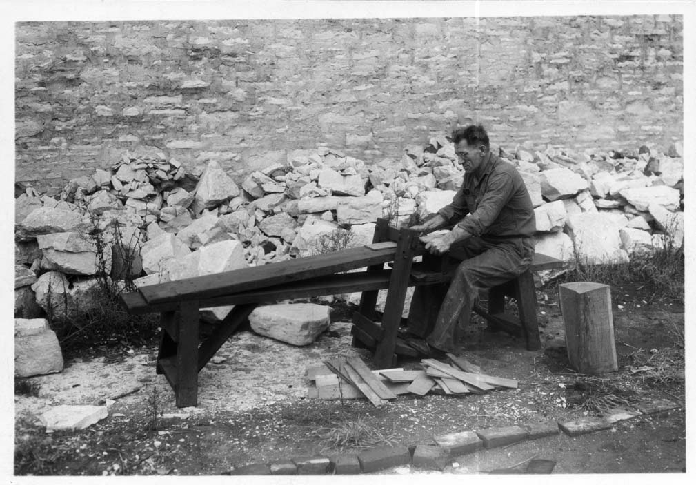 V106-000214 Craftsman at work making shingles, 1941, Old Rock House restoration