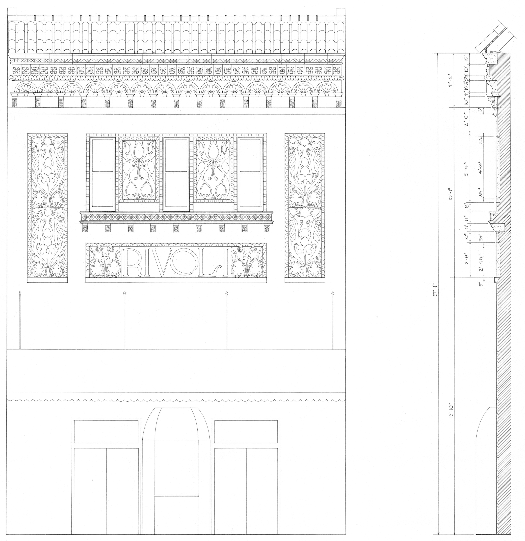 Scale drawing of Rivoli Theatre